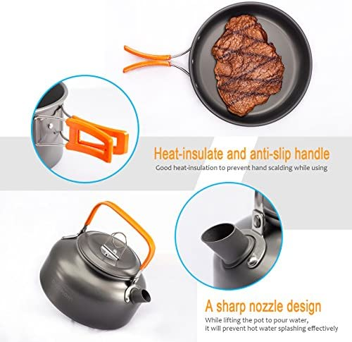 Overmont Ultralight Camping Cookware Set Outdoor Cooking Mess Kit Pots Pans Camp Kettle Portable for Backpacking Hiking Trekking Picnic Fishing Mountaineering