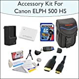 Advanced Accessory Kit With 16GB SDHC High Speed Memory Card, High Capacity NB-6L Replacement Battery, Vanguard Sydney-6B Compact Digital Camera Bag, 5 Foot Gold Plated Mini HDMI Cable and Much More fr Canon PowerShot ELPH 500 HS 12 MP CMOS Digital Camera