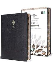 Biblia Reina Valera 1960 letra grande. Símilpiel negro, índice, tamaño manual / Spanish Bible RVR 1960.Handy Size, Thumb Index, Large Print, Black Leathe