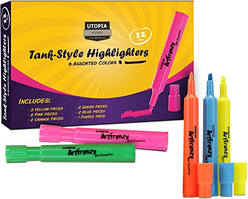 Pack of 12 Tank-Shaped Highlighters in Assort...