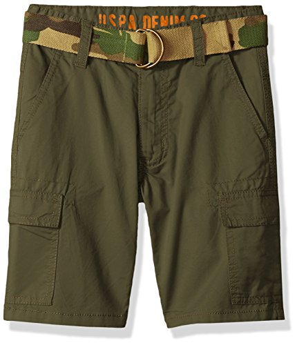 - U.S. Polo Assn. Boys' Toddler Short, Camo Belted Cargo Olive, 3T
