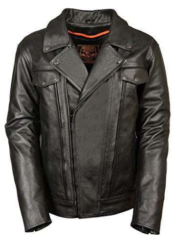 Men's Black Cowhide Leather Regular and Tall Sizes Vented...
