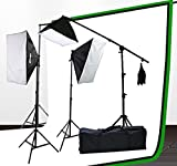 ePhoto Professional Photography Video Chromakey 10x12 Ft Green White Black Muslin Backdrop Support Kit & Softbox Hair light Boom Stand Kit by ePhotoInc H9004SB-1012BWG