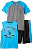 U.S. Polo Assn. Boys' Big T-Shirt, Mesh Short Set, Printed Tank Color Block el Turquoise, 10