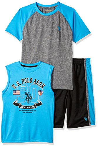 U.S. Polo Assn. Boys' Toddler T-Shirt, Mesh Short Set, Printed Tank Color Block el Turquoise 2T