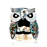 ptk12 Men Animal Suit Coat Dress Sweater Clips Brooch Wedding Jewelry Gifts Natural Owl Shell