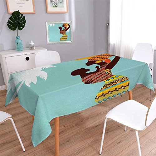 African Beads Turquoise Rectangle (Anmaseven African Rectangle Dinning Tabletop Decor African Mother with Her Baby in Ethnic Clothes Retro Style Fashion Image Table Cover for Kitchen Turquoise Marigold Size: W70 x L104)