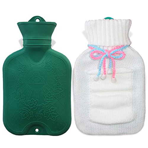 Read About UFEELGOOD Classic Hot Water Bottle, Premium Natural Medical Grade Rubber Bag with Knitted...