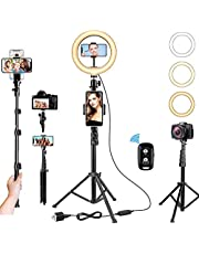"""10"""" Ring Light with Stand, 63"""" Extendable Tripod for Cell Phone with 3 Phone Holders, Phone Tripod Selfie Light Ring with Bluetooth Remote, Ring Light Tripod for iPhone/Android, Tik Tok, YouTube, Instagram Live Streaming & Lighting for Video Recording & Photography Lights"""