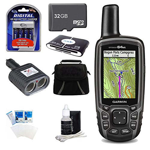 GPSMAP 64st Worldwide Handheld GPS BirdsEye + US Maps 32GB Bundle. Bundle Includes GPSMAP 64st, 32GB MicroSD Card, 57-in-1 USB Card Reader, AA Charger w/ 4 AA Batteries, Deluxe Gadget Bag, Cigarette Lighter Adapter, Cleaning Kit, and Screen Protectors. ()