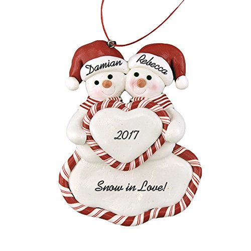Family of 2 Snowmen with Heart Personalized Christmas Ornament - Calliope Designs - For A Couple - 4.5