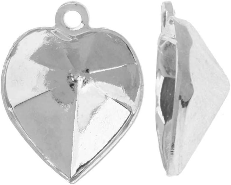 Swarovski Ajuste de Colgante de Piedra Cristal, se Adapta al corazón # 4884 de 11x10 mm, 2 Piezas, Chapado en rodio
