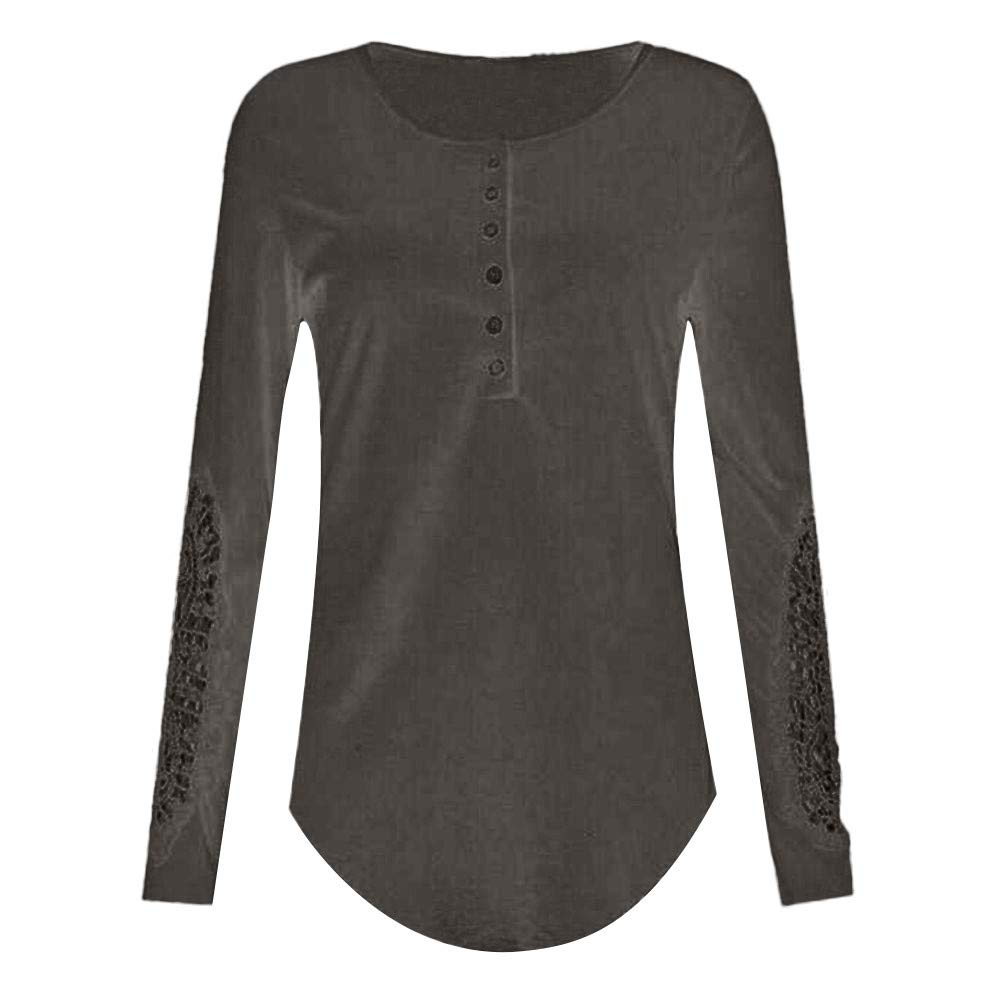 Women Henley Shirt Long Sleeve Casual Ribbed Scoop Neck Button Up Pullover Tops Blouse Tunic Shirts (XXXXL, Dark Gray)