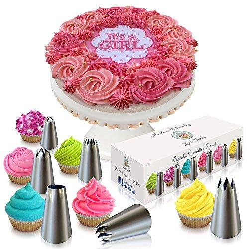 Cake & Cupcake Decorating Tip Set by Love2bake - MEDIUM SIZE Stainless Steel Decorating Tips - Closed Star Tip - Open Star Tip - Round Tip - French Tip - Swirl Tip - BONUS Drop Flower Tip