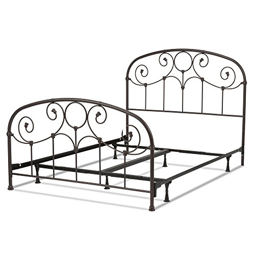 Grafton Complete Bed with Metal Scrollwork Panels and Decorative Castings, Rusty Gold Finish, Full (Wood Finish Country Bed)