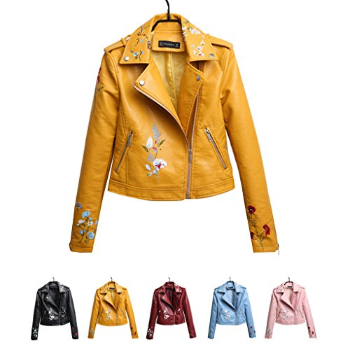Autumn Long Sleeve Zipper Yellow Masterein Leather Collar Short Down Embroidery Women's Coat PU Turn Floral Jacket Bg0Bz