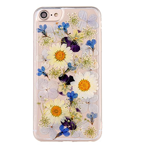 (Pretty Flower Case for iPhone 6, TIPFLY iPhone 6s Daisy Floral Real Pressed Dry Flowers Cover, Slim Cute Clear Flexible Rubber Shell Protective for iPhone 6/6s (Real Flower 7) )
