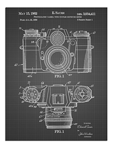 JP London Solvent Free Print PAPXSJSG21 Classic Pocket Camera Vintage Black Grid Poster Patent Art at 8