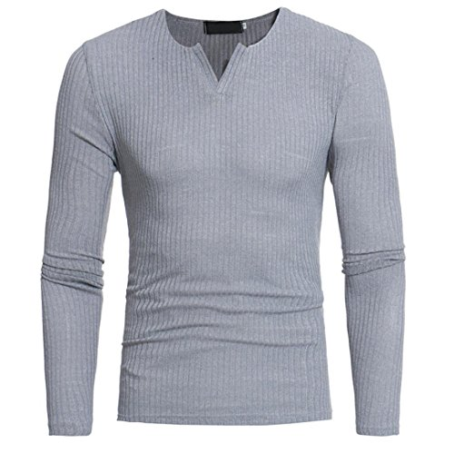 Sleeve Dress® V Tops Blouse Long Casual V L3 Patchwork Sweatshirt Grey Men's Sweaters M Shirts Neck Neck T Fashion q8wppF
