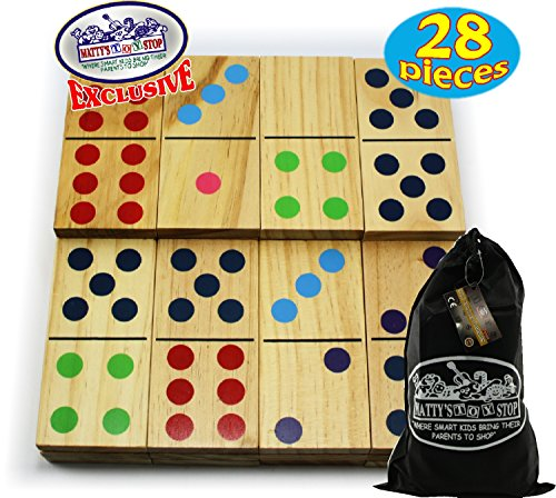 Matty's Toy Stop Deluxe Giant Wooden Dominoes Double Six (5
