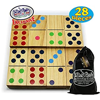 """Matty's Toy Stop Deluxe Giant Wooden Dominoes Double Six (5"""") Color Dot, 28 Piece Set with Storage Bag"""
