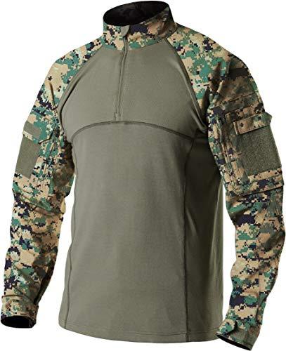CQR Men's Combat Shirt Tactical 1/4 Zip Assault Military Top Camo EDC, Combat Shirts(tos201) - Marpat, Small ()