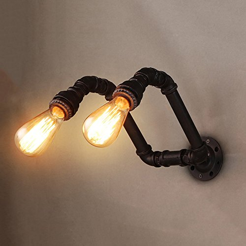 Water pipe wall lamp Double Decorative lamp Lighting lamps E27 light bulb 2 Retro Industrial style iron Bar Basement Garage balcony Storage room Height 10.24 Inch (black) by Lizichun