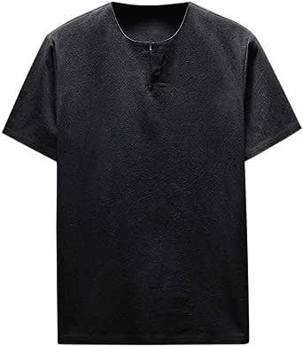 Camisas Hombre Tallas Grandes, Lanskirt Camiseta de Manga Corta para Hombre Blusas de Lino Camisetas Basicas de Color SóLido y con Cuello Redondo Tops Shirt Verano 5XL: Amazon.es: Ropa y accesorios