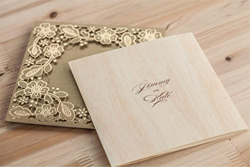 Wishmade 100X Printable Laser Cut Wedding Invitations Cards with Hollow Floral Card Stock For Engagement Birthday Party Baby Shower Bridal Shower Events CW5279 by Wishmade (Image #8)