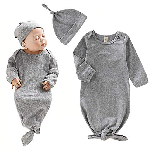 Baby Gown Newborn Cotton Long Sleeve Unisex Sleeping Bag Baby Boy Girl Blanket Sleeper Coming Home Outfit Gray with Hat for Baby Boy Girls 0-6months ()