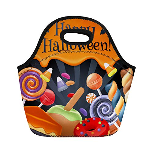 Semtomn Neoprene Lunch Tote Bag Halloween Sweets Colorful Party Lollipop Candy Corn Cake Caramel Reusable Cooler Bags Insulated Thermal Picnic Handbag for Travel,School,Outdoors,Work