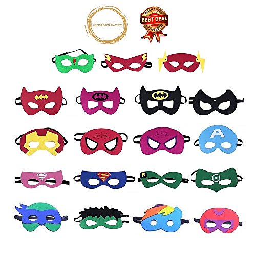 Superhero Masks Party Favors and supplies for Children, Perfect for Birthday Party Masks, Games and Decorations, 20 -
