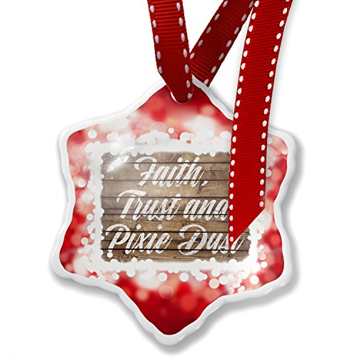 Christmas Ornament Painted Wood Faith, Trust and Pixie Dust, red - Neonblond by NEONBLOND