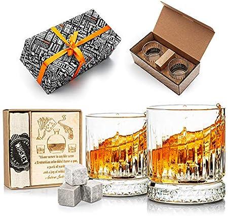 Set de regalo de piedras y vasos para whisky. Juego de 2 vasos de whisky, regalo para hombres. Juego de vasos de whisky como regalo de 40 cumpleaños para él. (Gris)