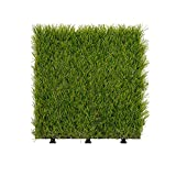 OuYang Artificial Grass Flooring Tiles Interlocking Fake Grass Deck Tile Synthetic Grass Turf Green Lawn Carpet Floor Mat for Indoor Outdoor Patio Balcony Garden Decor 12''x12'' Pack of 11 PCS,C4