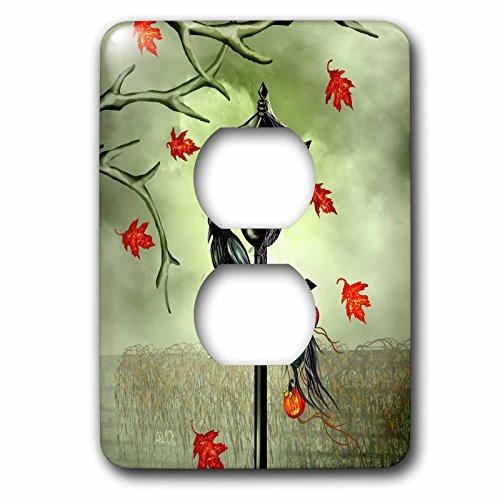 3dRose (lsp_245350_6) 2 Plug Outlet Cover (6) 2 Halloween Crow, Street Lamp, Black Widow, Jackolanterns, Shrunken Head