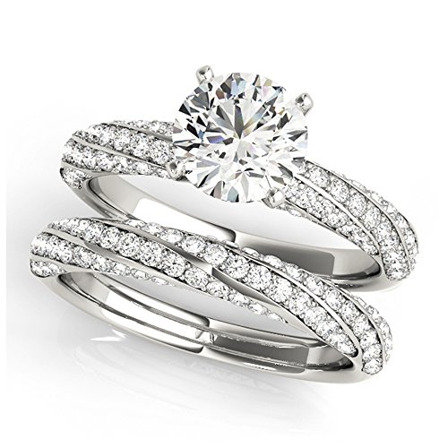 14K White Gold Unique Wedding Diamond Bridal Set Style MT51029