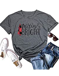 NANYUAYA Womens Merry and Bright Letters Christmas Tree Printed Round Neck Tee
