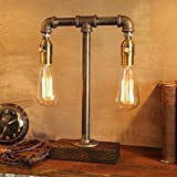 Dual Dimming Industrial Steampunk table pipe lamp with Classic Edison bulb and Weathered wood base
