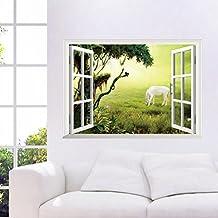 "BIBITIME Big Tree Prairie White Horse 3D Window View Vinyl Wall Sticker Animal Decal Kids Room Decor Bedroom Living Room Mural,26.77"" x 18.89"""