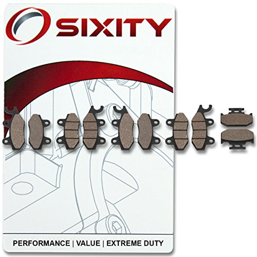 Sixity Front + Rear Organic Brake Pads 2011-2013 Yamaha YXR700F Rhino 700 FI Set Full Kit -  4016134296