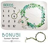Baby Monthly Milestone Blanket for Boy Girl - Infant Newborn Swaddling Blanket - New Mom Baby Shower Gift - Photography Backdrop - Flower Wreath Included
