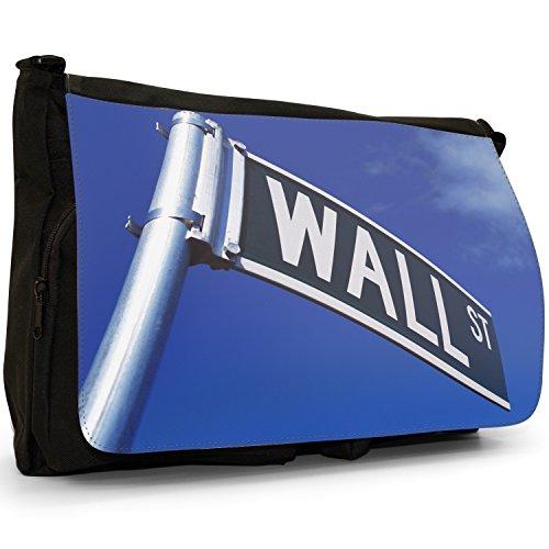 Fancy A Bag Borsa Messenger nero World Famous Wall Street Sign World Famous Wall Street Sign