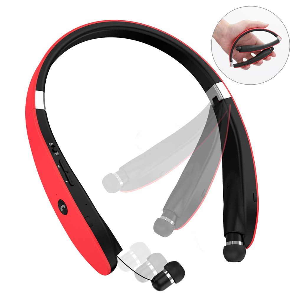 Bluetooth Headphones, Wireless Bluetooth Headset, Wireless Foldable Retractable Headset with Neckband Design Compatible for iPhone X/8/7 Plus Samsung Galaxy S9 Note 8 (Black) coolbuying