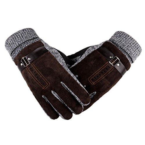 Winter Men's Gloves, Lowprofile Faux Suede Gloves Men Winter Warm Motorcycle Ski Snowboard Gloves Touchscreen (Coffee)