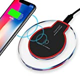 Pajuva Wireless Charger, Wireless Charging Pad Station for iPhone X/8/8 Plus and Samsung Galaxy Note 8 S8 S8 Plus S7 S7 Edge Note 5 S6 Edge Plus - Updated Version (Black)