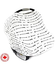 Chubbi Baby Stretchy Baby Car Seat Canopy Ultrasoft Multi-Uses | Nursing Cover | High Chair Cover | Shopping Cart Cover | Infinity Scarf with Bonus Matching Pouch by Chubbi Baby (White Arrow)