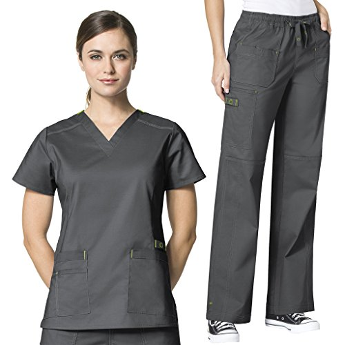 WonderWink Womens Scrubs V Neck Darted
