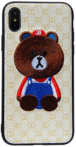 (IPXCXXXBE) 3D Bear Embroidery Design Hybrid case for iPhone X/iPhone Xs (5.8 inch/ 2017-2018) - SNK Retail Packaging (Embroidery Case)