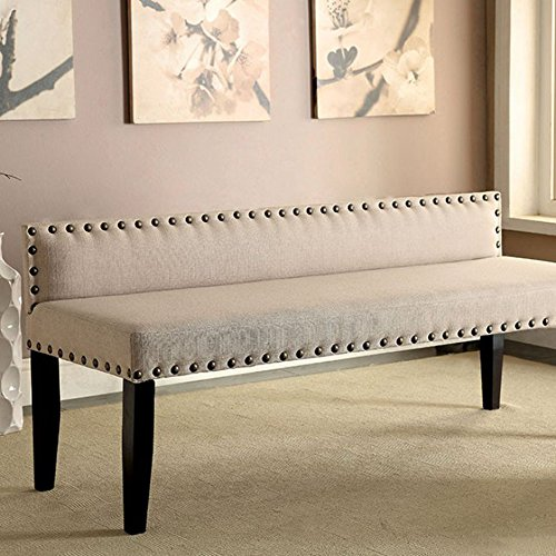 Herstal Contemporary Style Bench With Ivory Flax Fabric